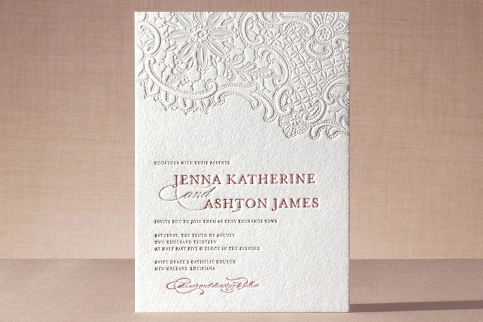 Letter Press Wedding Invitation: Lace/ Old Paper Wedding Invitations