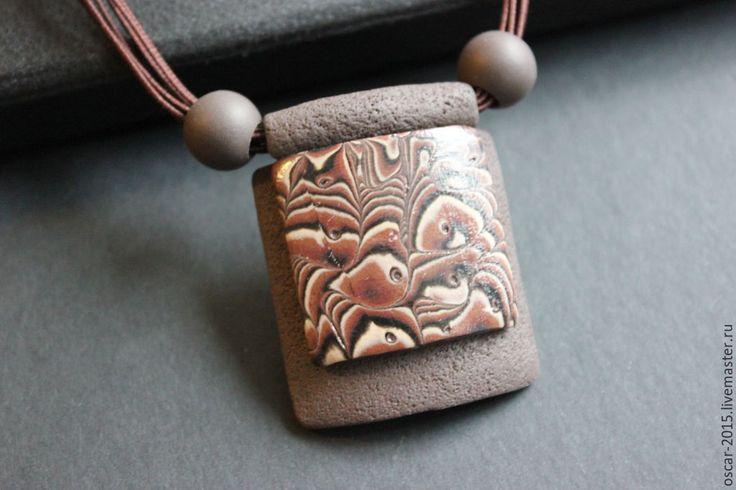 Купить Кулон из полимерной глины - Кулон ручной работы, полимерная глина, коричневый