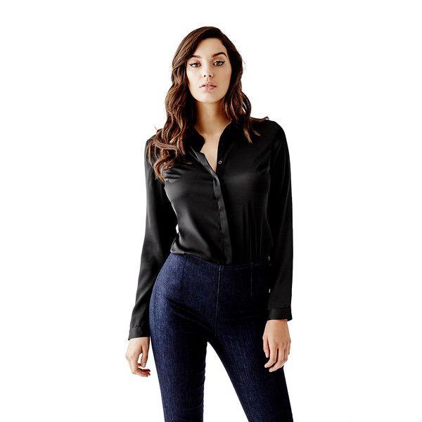 Best 25 black button up shirt ideas on pinterest grey for Black silk button down shirt