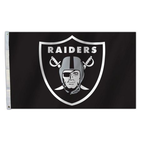 OAK Raiders Logo 3X5 Flag, Black