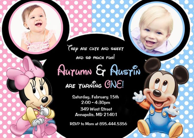 23 best kids birthdays images on pinterest twin boys twin first minnie mouse mickey mouse twins first birthday party invitation filmwisefo Images