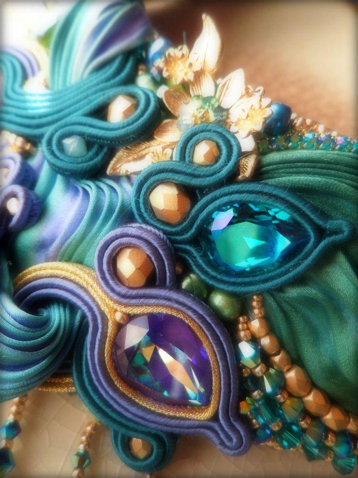 """LIZ"" Necklace (detail) - Designed by Serena Di Mercione - Soutache, bead…"