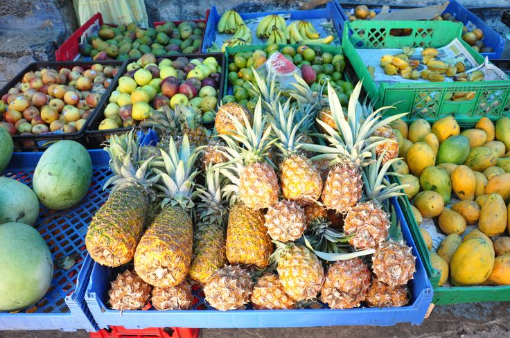 Stop by a local market during your next visit to discover some of Jamaica's unique flavours. How many fruits can you identify?  'Like' if you love our fresh all-natural fare. #visitjamaica