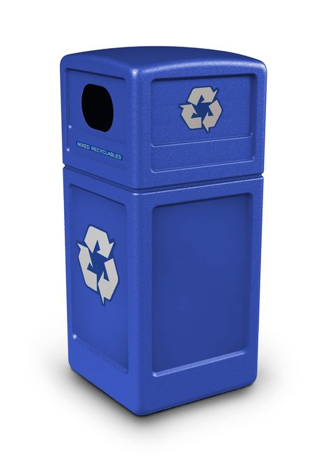 42 Gallon Recycling Trash Can Garbage Can with Dome Lid 74610499 - outdoor & indoor trash cans, recycle bins, & ashtrays for commercial, office or home.