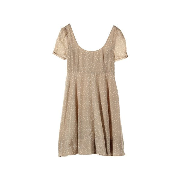 【ELLE SHOP】ドット柄ワンピースベージュ|ジル スチュアート(JILLSTUART)|ファッション通販 エル・ショップ ($255) ❤ liked on Polyvore