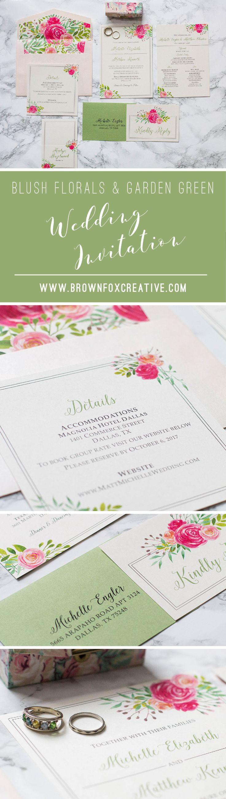 how to return address wedding envelopes%0A Blush Pink and Garden Green Water Color Floral Wedding Invitation  Includes  Envelope Liner  Guest