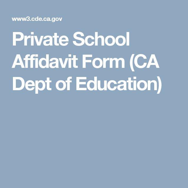 Private School Affidavit Form (CA Dept of Education)