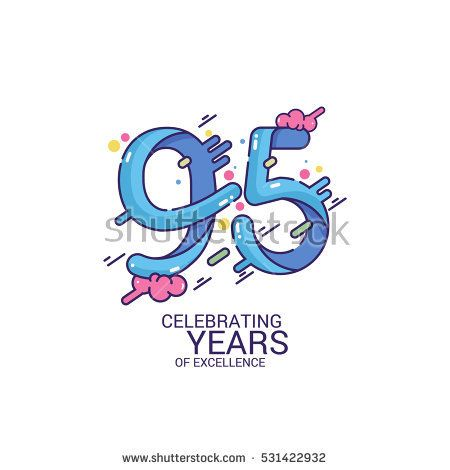 95 Years Anniversary Design, Blue Splash Colored Logo Celebration Isolated on White Background