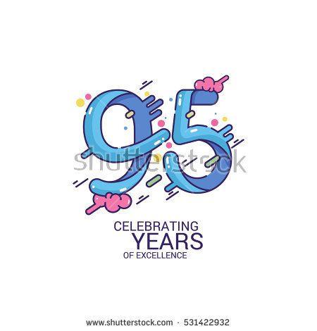 95 Years Anniversary Design, Blue Splash Colored Logo Celebration Isolated on White Background