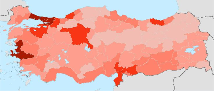 Turkey population density by province 2014. From under 40 to over 320