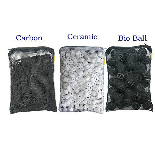 The bio balls and ceramic rings provide biological filtration removing toxic ammonia and nitrite. The combination of three different filter media work best for your aquarium filtration. Each media is...