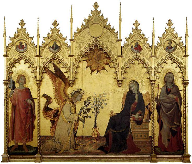 Simone Martini, Lippo Memmi - Annunciazione tra i santi Ansano e Margherita (1333). Firenze, Galleria degli Uffizi