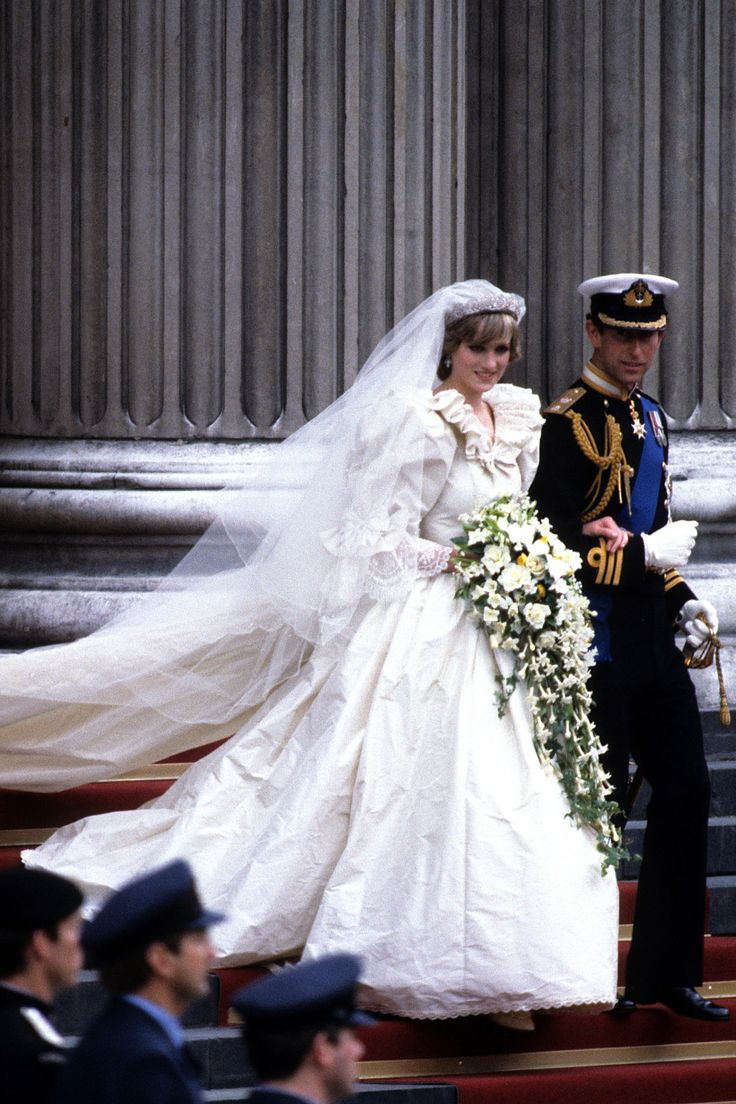 PRINCESS DIANA AND PRINCE CHARLES OF WALES Princess Diana and Prince Charles's wedding portrait from July 1981. The bride wore a gown designed by David and Elizabeth Emanuel.