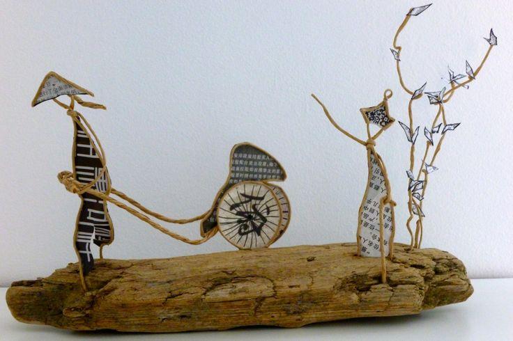 Taxi pousse-pousse et le vieil homme - figurines en ficelle et papier : Accessoires de maison par ficelleetpapier
