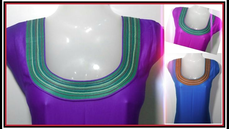 Round Neckline/ With Colourful Anchor Threads / Cutting and Stitching