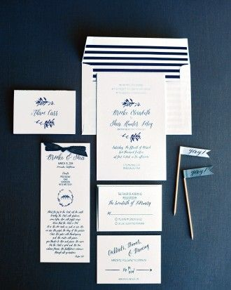 Brooke and Shea designed the two-tone suite and called upon Consider the Lilies Paper for calligraphy and fonts.