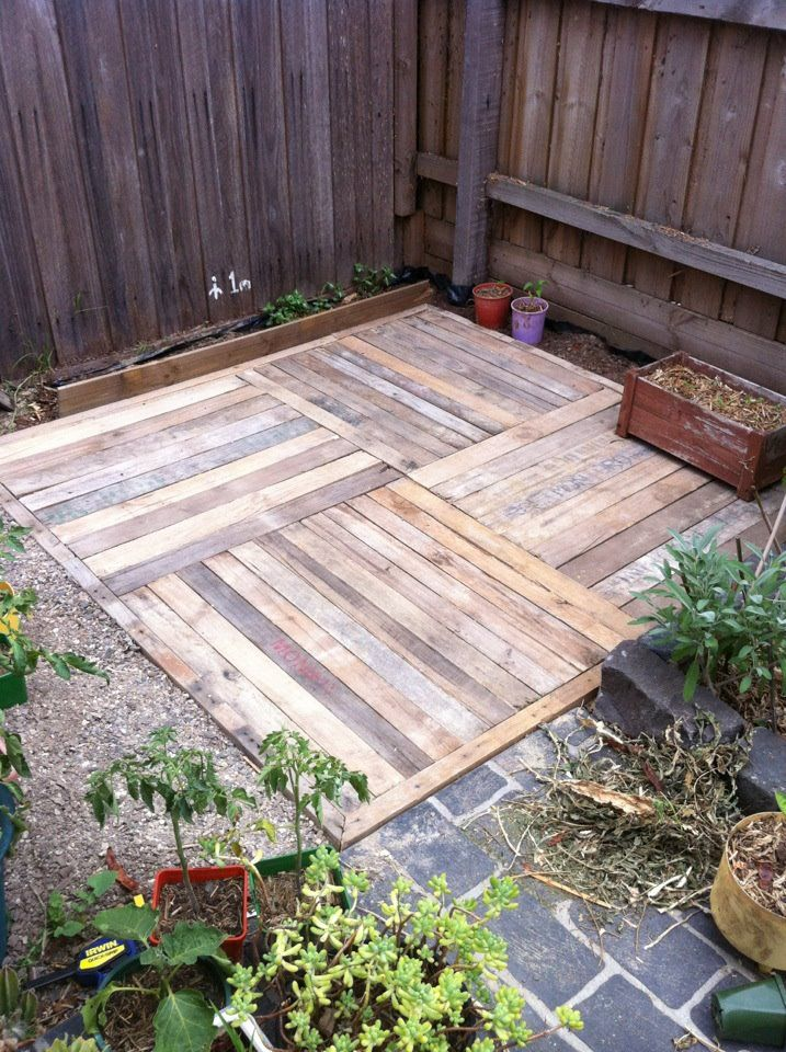 idea to use east of deck for patio pallet deck also could be a walk way to keep out of mud and cheap and easy to replace
