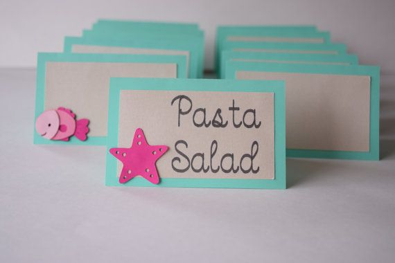 This set of 10 food labels are the perfect addition to your Mermaid / Under the Sea theme party! Use them for labeling food items, as place
