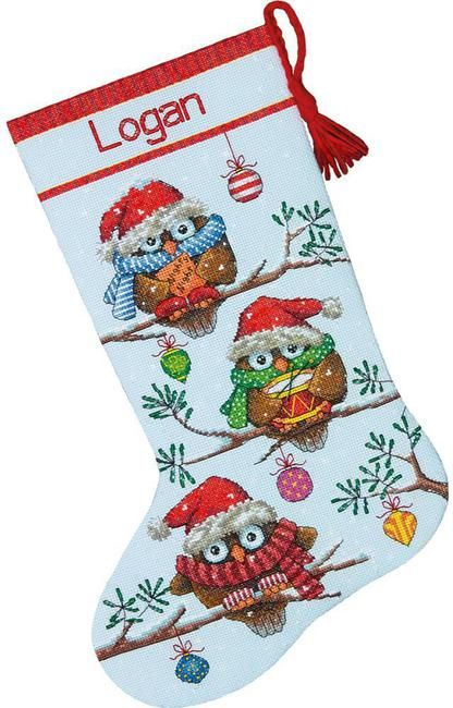 Holiday Hooties Christmas Stocking - Cross Stitch Kit                                                                                                                                                                                 More