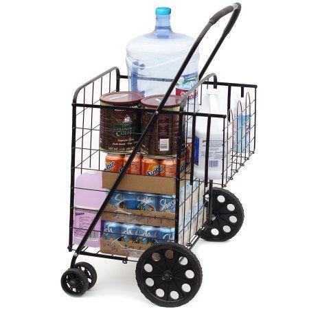 OxGord Folding Shopping Cart with Double Basket- Jumbo Size 150 lb Capacity for Laundry, Grocery, Travel - Walmart.com