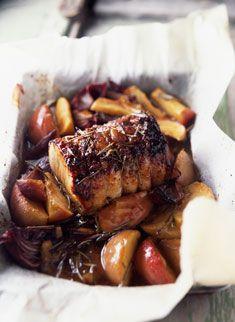 Recette de rôti de porc au four aux pommes, poires et panais