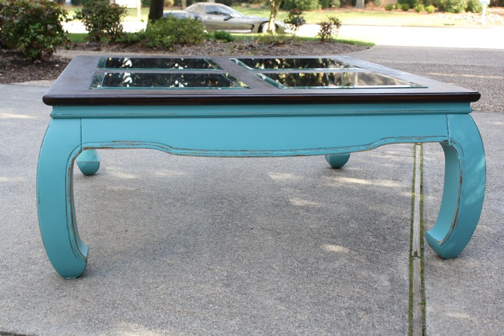 teal coffee table with glass inserts | not too shabby ~ my own