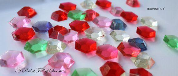 50 ASSORTED COLORS Edible Sugar Gems Barley Sugar Bite Sized Hard Candy Cake Decor Cupcake Jewels
