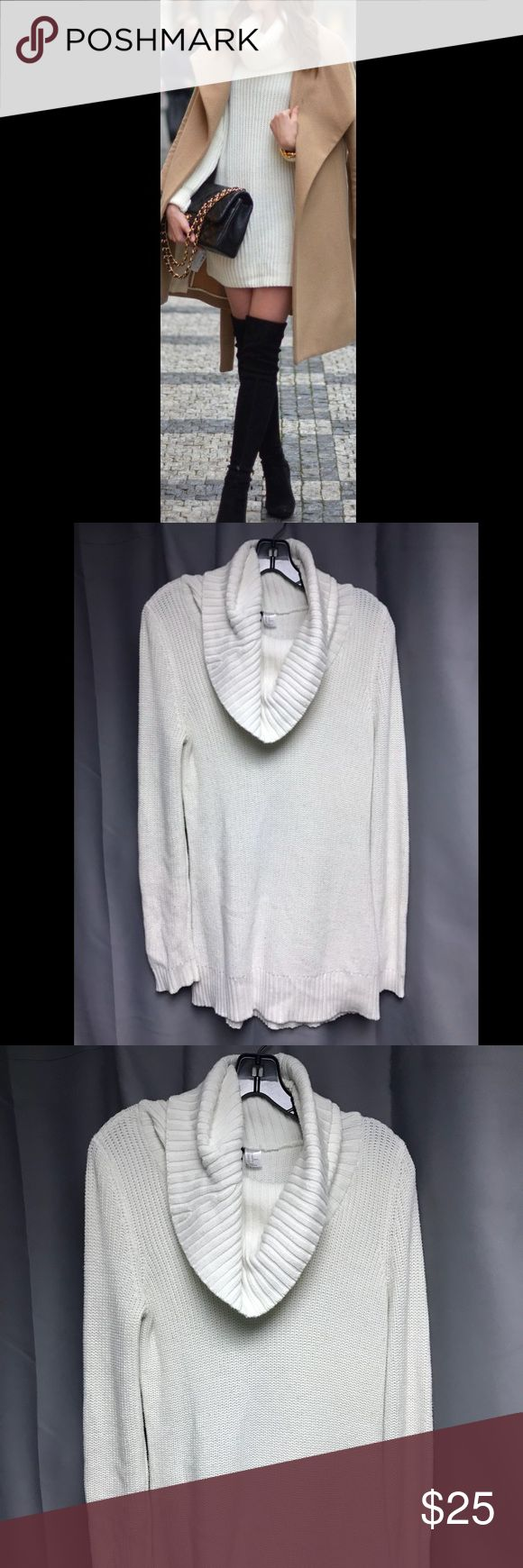 🌟White Turtleneck Sweater Dress🌟 Lightweight turtle neck sweater dress Pair with tights or leggings. Wear alone as a dress like blog post picture!  Size: Medium  Fits true to size  Length from shoulder to bottom of skirt: 31 in    In GREAT condition, lightly worn H&M Sweaters Cowl & Turtlenecks