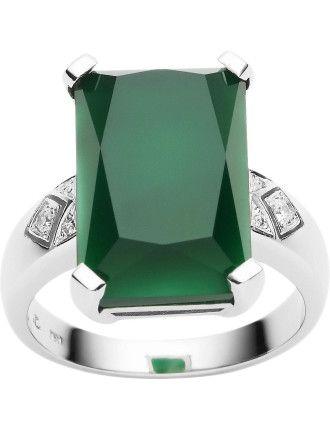 18ct Green Onyx Diamond Lexington Ring by Jan Logan 2015