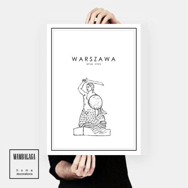 plakat Warszawa Syrenka - MAMBALAGA - Plakaty typograficzne