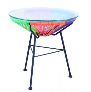 Suitable to be used in indoor and outdoor environments,  Galvanised Powder Coated Steel Frame, UV Resistant plastic cane weaved chair, Dimensions : 70cm width x 90cm height x 70cm depth Colour : Black Frame With Rainbow Base, Available in Blue and Yellow, Orange, yellow, Green, Pink, blue and white Also available Replica Acapulco side table,