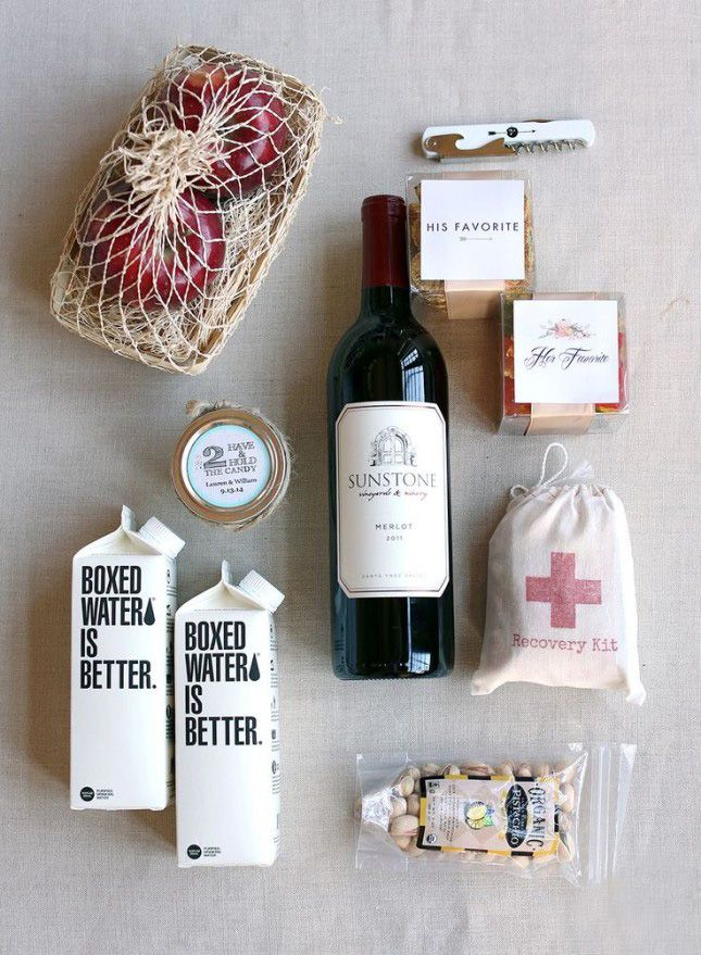 Wrap up a welcome basket for your wedding guests.