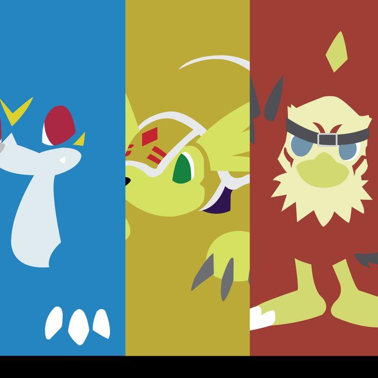 Digimon Rookies Silhouettes #veemon #hawkmon #armadillomon