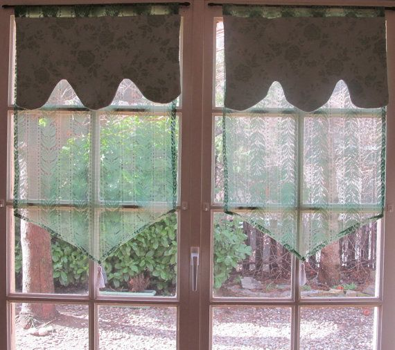 French Cafe Curtains Green lace Curtains by HatchedinFrance, $49.00