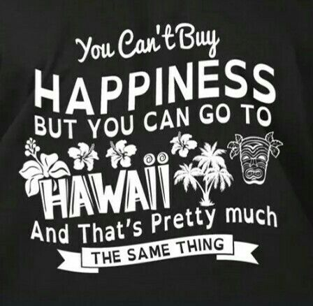You can't buy happiness but you can go to Hawaii and that's pretty much the same thing.