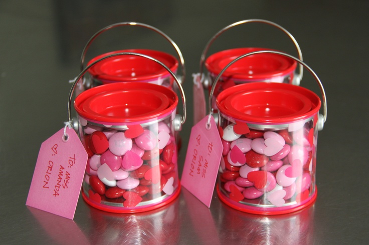 Mini pails filled with M's -- cute valentine for teacher or friends
