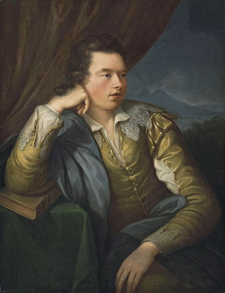 Angelica Kauffmann (Swiss, 1741 - 1807): Portrait of John campbell, 4th Earl and 1st Marquess of Breadalbane (1762-1834), three-quarter-length, in a yellow jacket with lace collar and cuffs, his right arm resting on a book, a mountainous landscape...