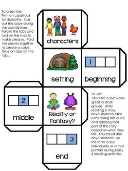 "FREEBIE! Retell Cube for Story Comprehension.....Follow for Free ""too-neat-not-to-keep"" teaching tools & other fun stuff :)"