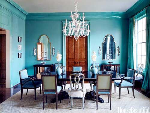Turquoise dining room. Design: Suzanne Kasler. housebeautiful.com. #turquoise #dining_room #elegant #chandelier