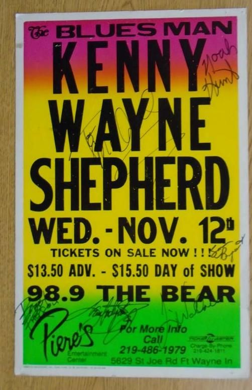 Original AUTOGRAPHED concert poster for Kenny Wayne Shepherd at Piere's in Fort Wayne, IN in 1997. HAND-SIGNED by the band. Handling marks, creases and pinholes.