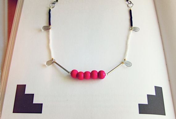 Fuchsia and Smokey Beads Necklace  Hot Pink Statement by SKRIN, $40.00