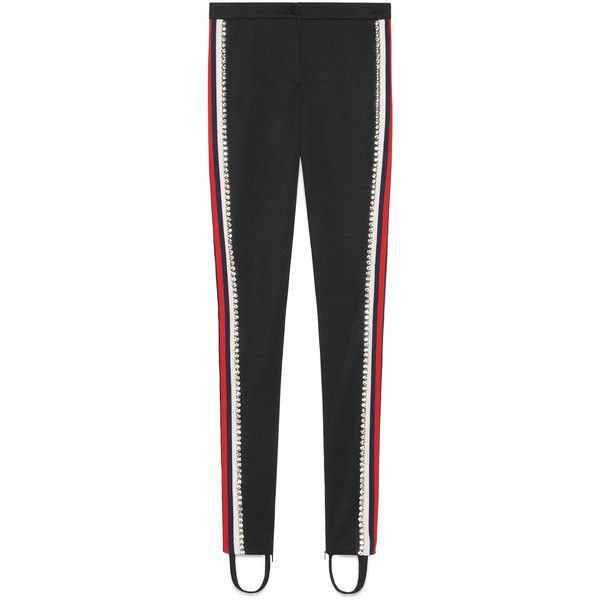 Gucci Technical Jersey Stirrup Legging With Crystals (6,795 MYR) ❤ liked on Polyvore featuring pants, leggings, pants & shorts, ready-to-wear, women, zipper leggings, button pants, stripe leggings, gucci leggings and striped leggings