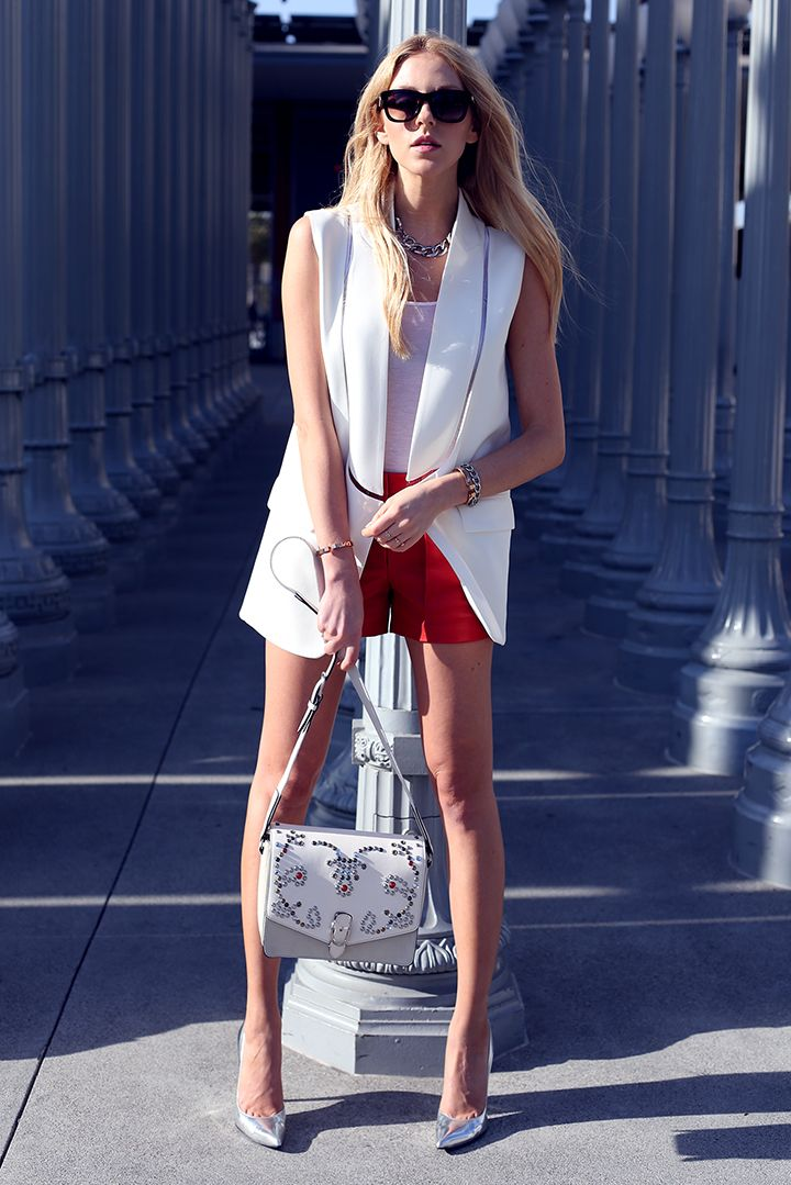White Alice blazer red Theory shorts and white Loubs