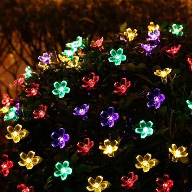 25 luckled flower outdoor solar string lights 21ft 50 led multi color fairy blossom christmas mozeypictures Images