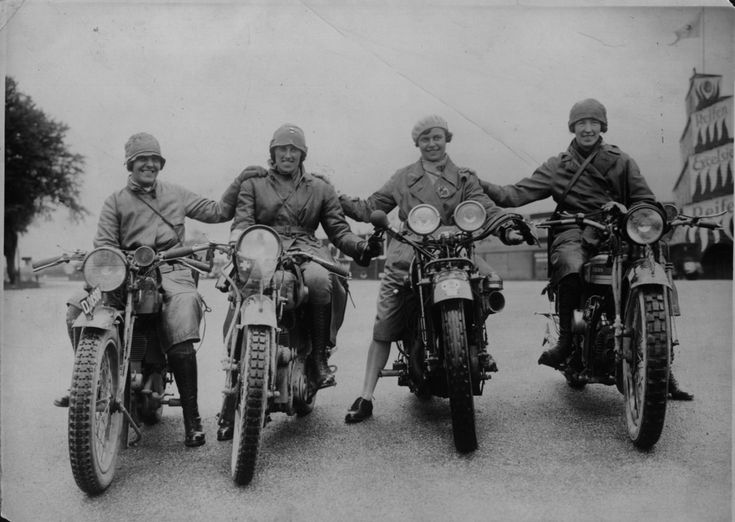 Marjorie Cottle (second from right), a famous motorcyclist, and friends in Germany, 1920.