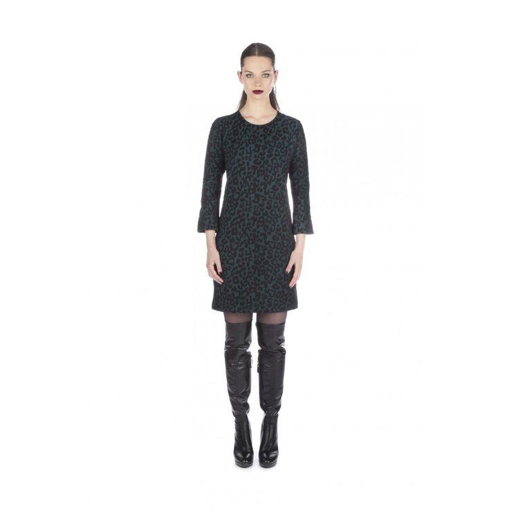 Jurk Panther Jacquard Jade | Juffrouw Jansen | Dresses Only
