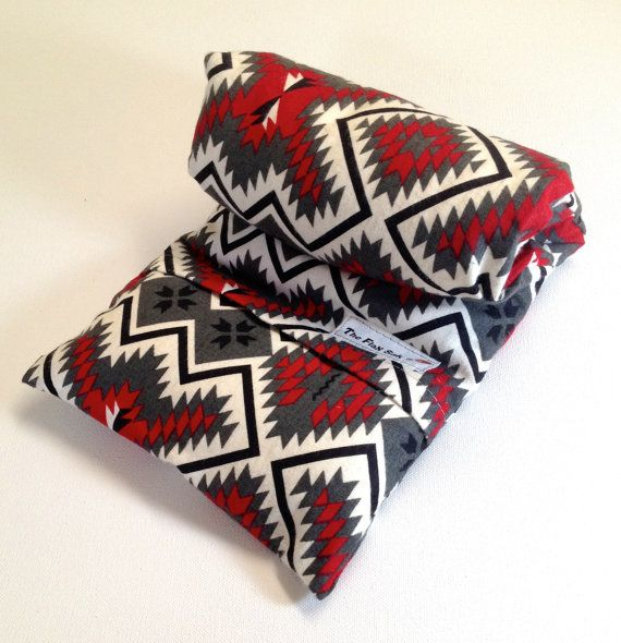 "FLAX HEATING PAD, large 8 X 18 in  Removable/Washable Flannel cover Red and Grey aztec design, Back, neck, tummy pain relief ""The FLaX SaK"""