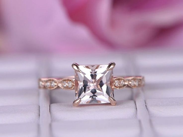 Awesome Princess Cut Diamonds 14K Rose Gold 1.03ct Wedding Engagement Rings. #goldjewellery17 #Simulated