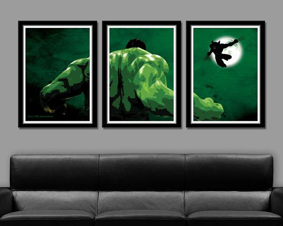 Hulk VS. Wolverine Minimalist Movie Poster 13 X by BigTimePosters, $43.00 This would go great behind my couch in the man cave...
