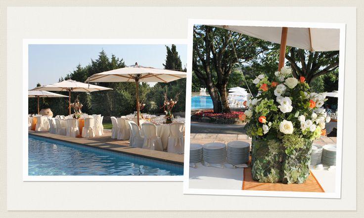 Matrimonio Estivo bordo piscina in bianco e arancione www.laflorealedistefania.it #matrimonio #roma #sposaroma #addobbo #fiori